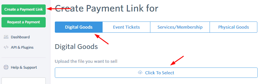 create payment link for product
