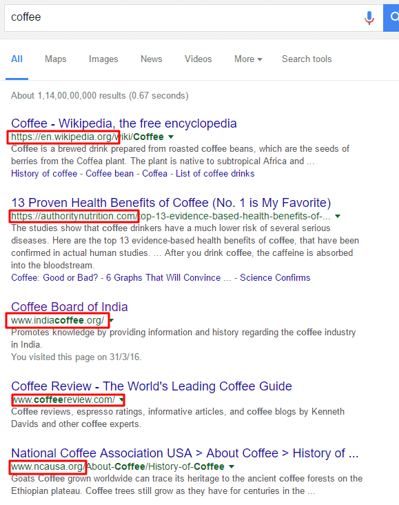 high Level Competitor in google search result