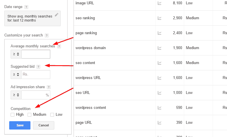 keyword filter option have 3 further option loaction