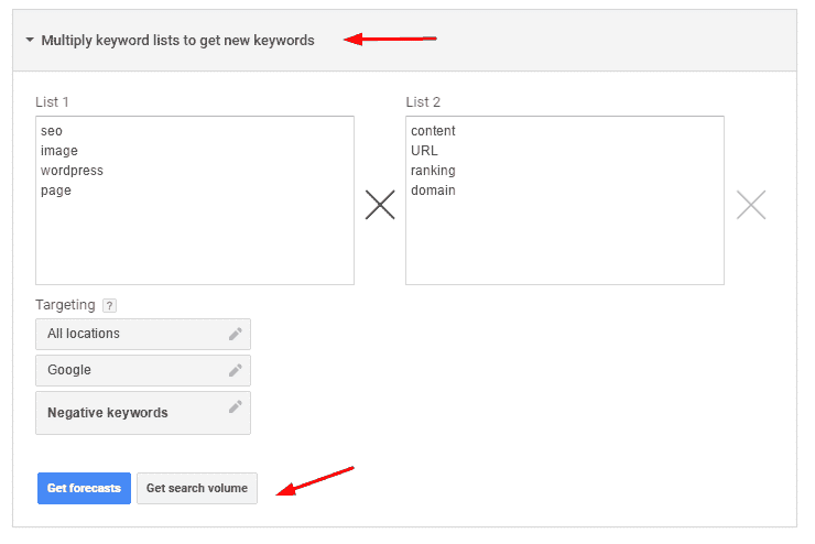 multiply keyword list loaction