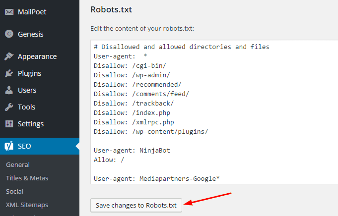robots.txt file location in wordpress