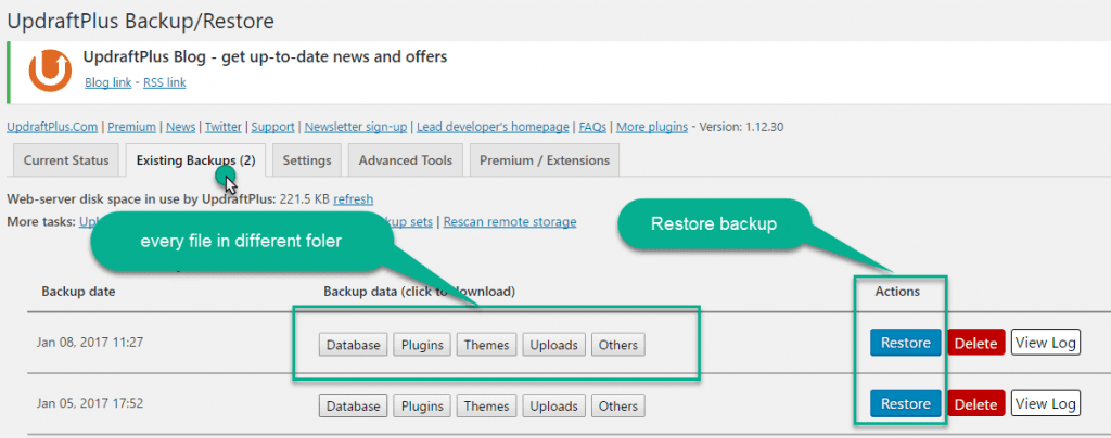 Restore Backup in updraft plugin
