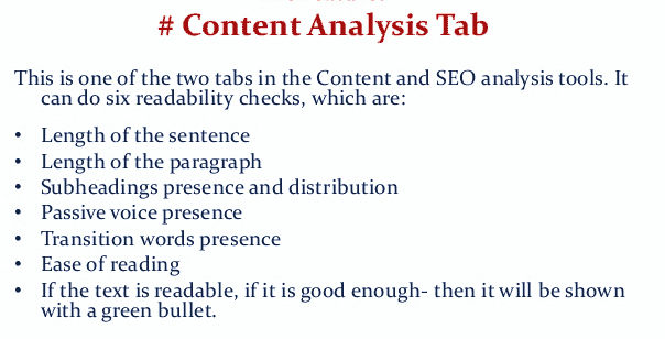 Content analysis tab