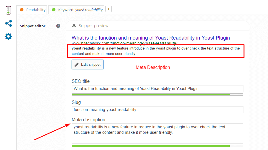 Edit snippet in yoast plugin