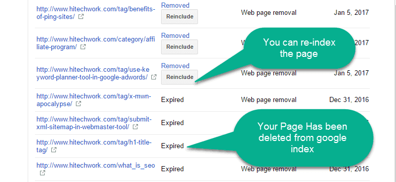 page expire in the google page removal tool