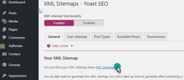 Generate Sitemap File in yoast plugin