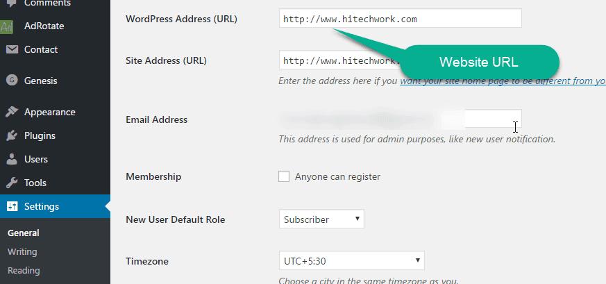 Wordpress Address URL