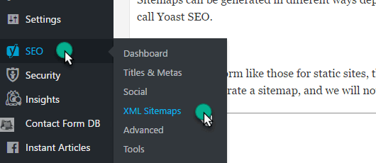 Yoast Plugin Feature of xml sitemap