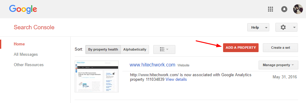 Add property in google webmaster tool