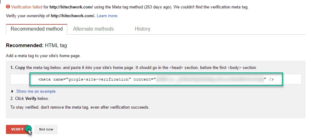 HTML meta Tag Code in webmaster tool
