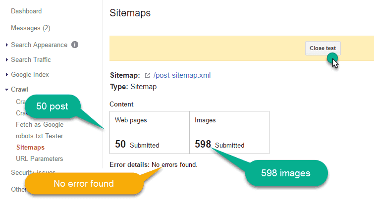 test the xml sitemap file in the google webmaster tool
