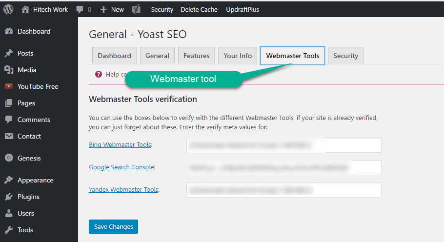 Verify Site Though yoast SEO Plugin