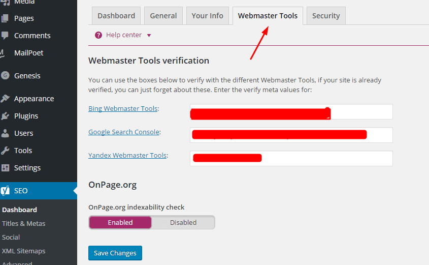 Verify site with the hwlp of yoast plugin