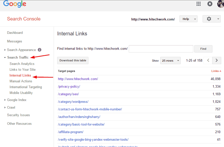 location of Internal link faeture in google webmaster tool
