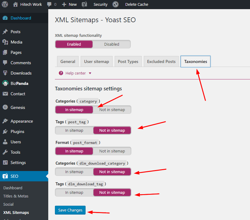 Taxonomies setting in yoast SEO