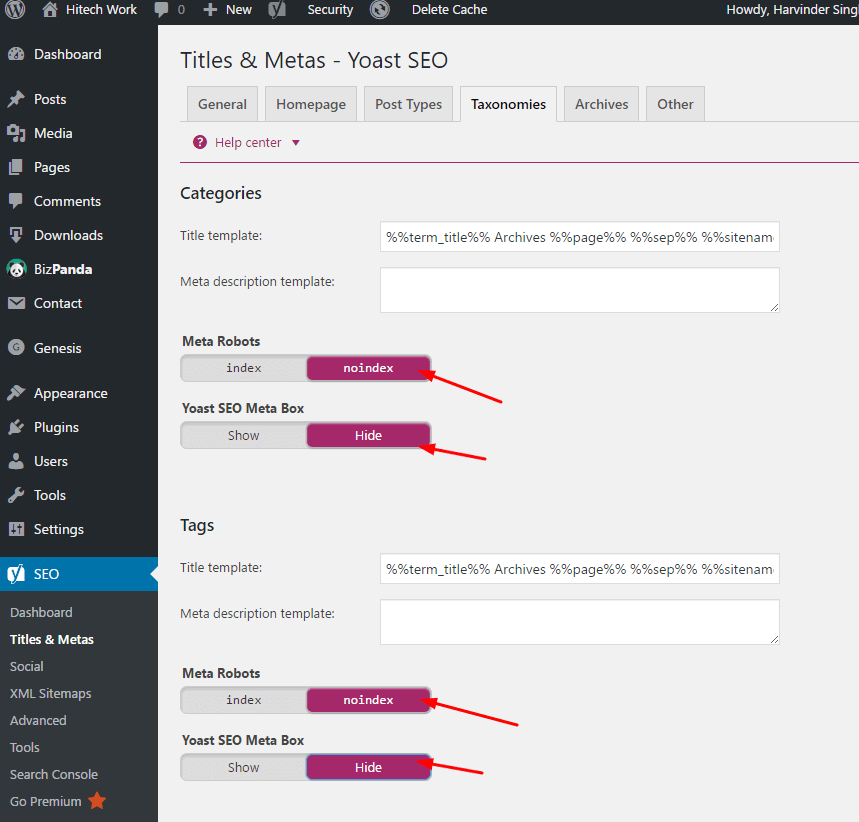 Taxonomies Setting option under title and meta in yoast