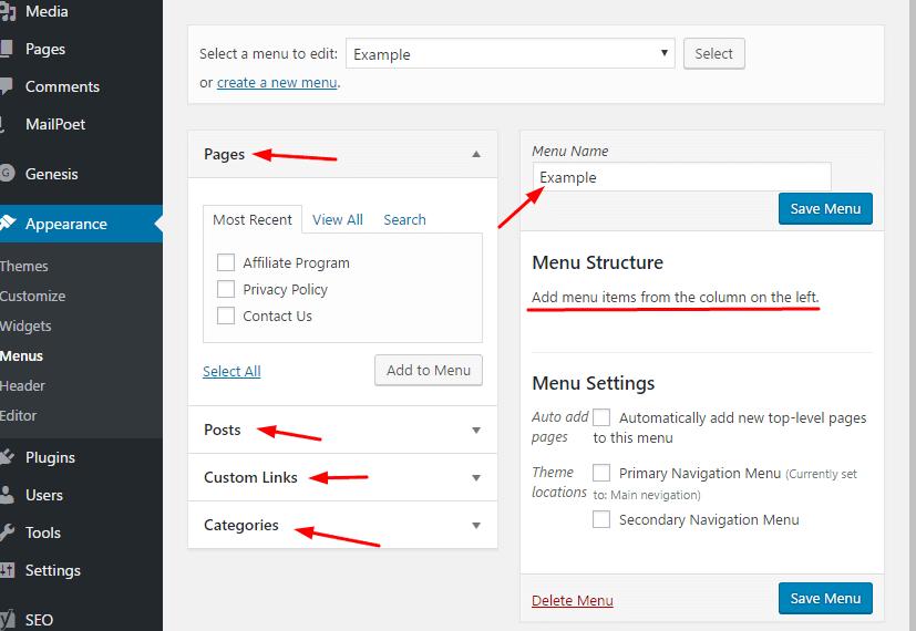 Feature of menus in wordpress