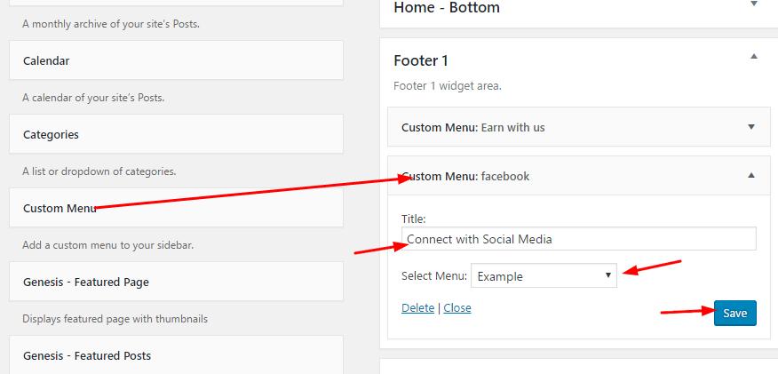 Drag custom menus into footer