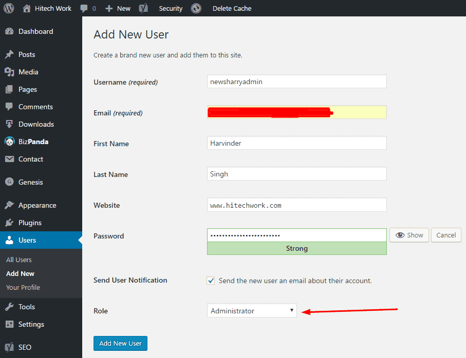 New user information box in wordpress
