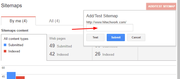 Paste sitemap file in webmaster tool