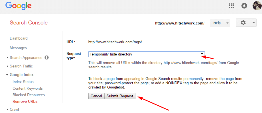 Hide Directory from google webmaster tool
