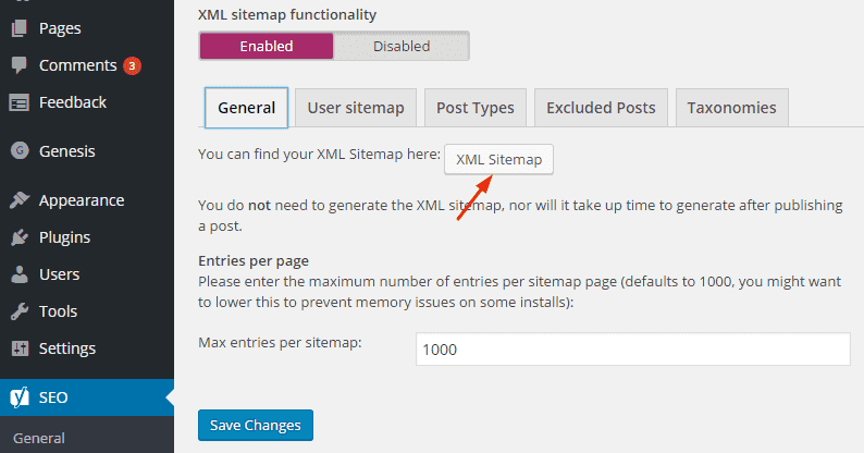 Create XML Sitemap in yoast plugin