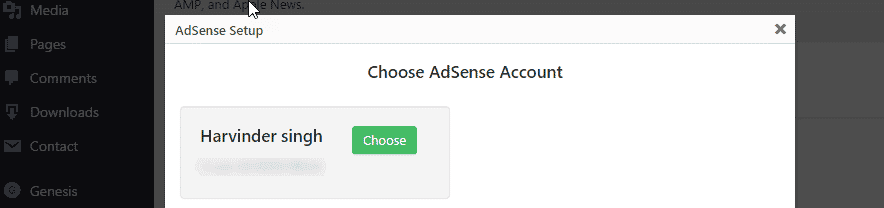 Choose your AdSense account