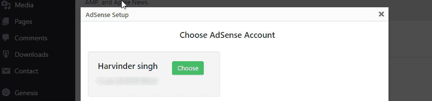 Choose your AdSenseaccount