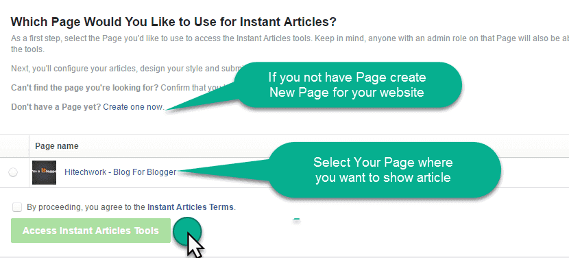Select Page for Instant Article