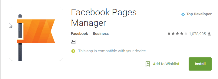Facebook page manager app
