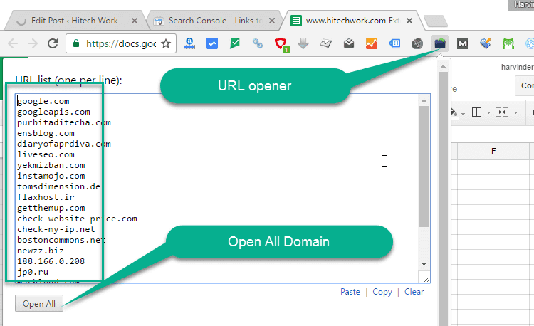 URL opener chrome extension