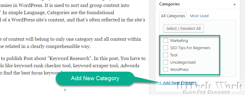Add Category during writing post