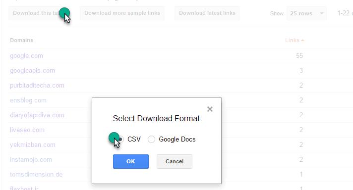 Backlink file download in the webmaster tool