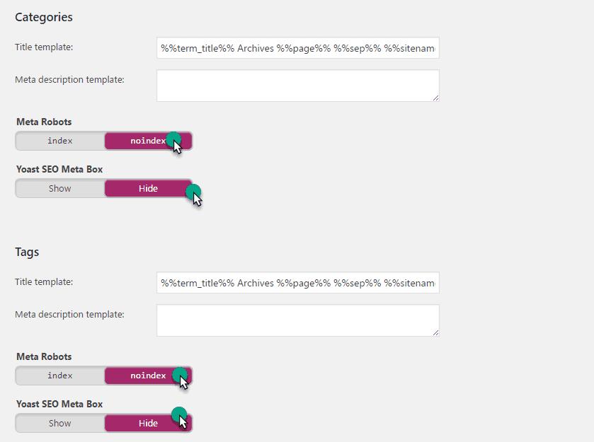 title and meta setting in yoast plugin