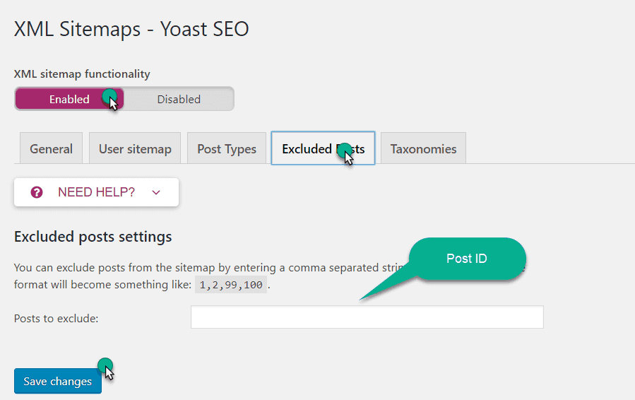 exclude the post form sitemap in yoast plugin