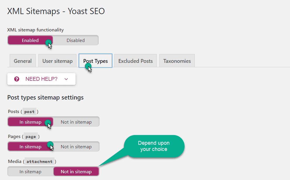 past type sitemap setting in yoast
