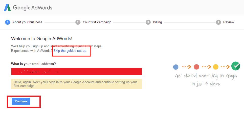 skip billing option of adword