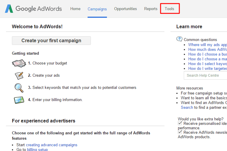 tool option in adword