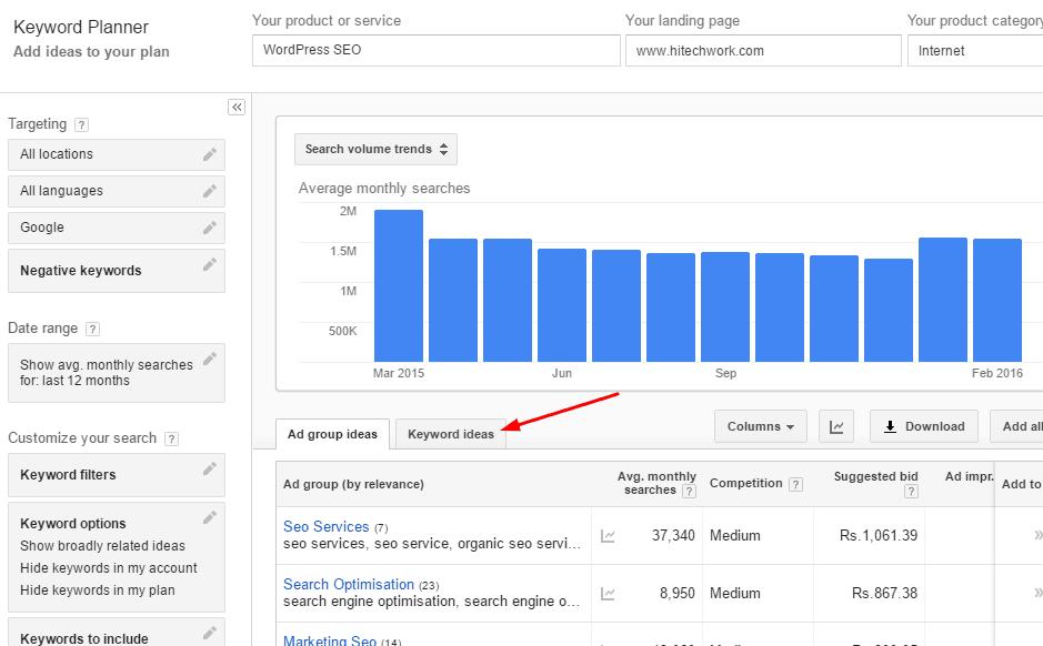 keyword idea option in google adword