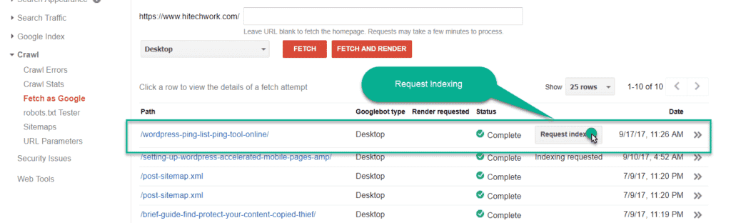request indexing by fetch as google in Google webmaster tool