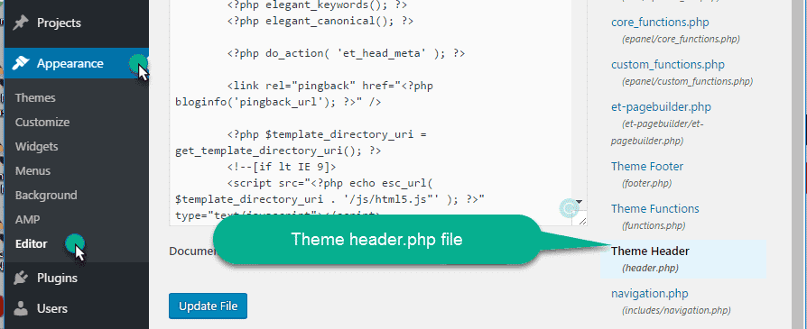 Theme header.php