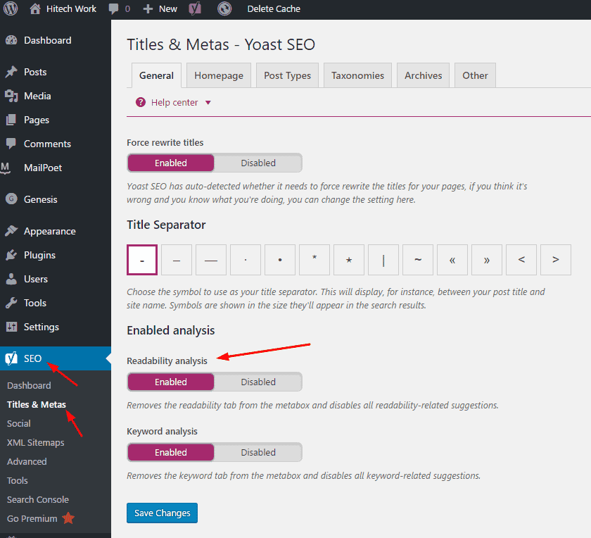 Disable And Enable Option of Yoast readbility