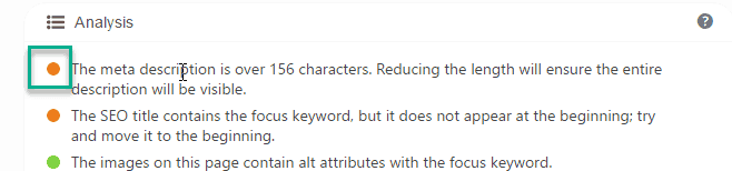 meta description analysis tab in yoast Plugin