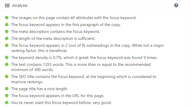 SEO analysis Tab