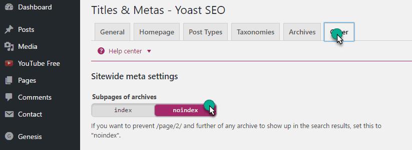 Sub Page Setting