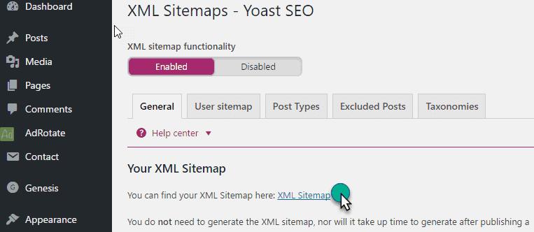 Generate Sitemap File in yoast plugin