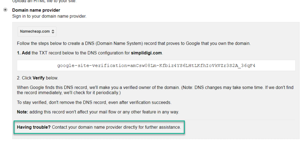 domain provide verify method.