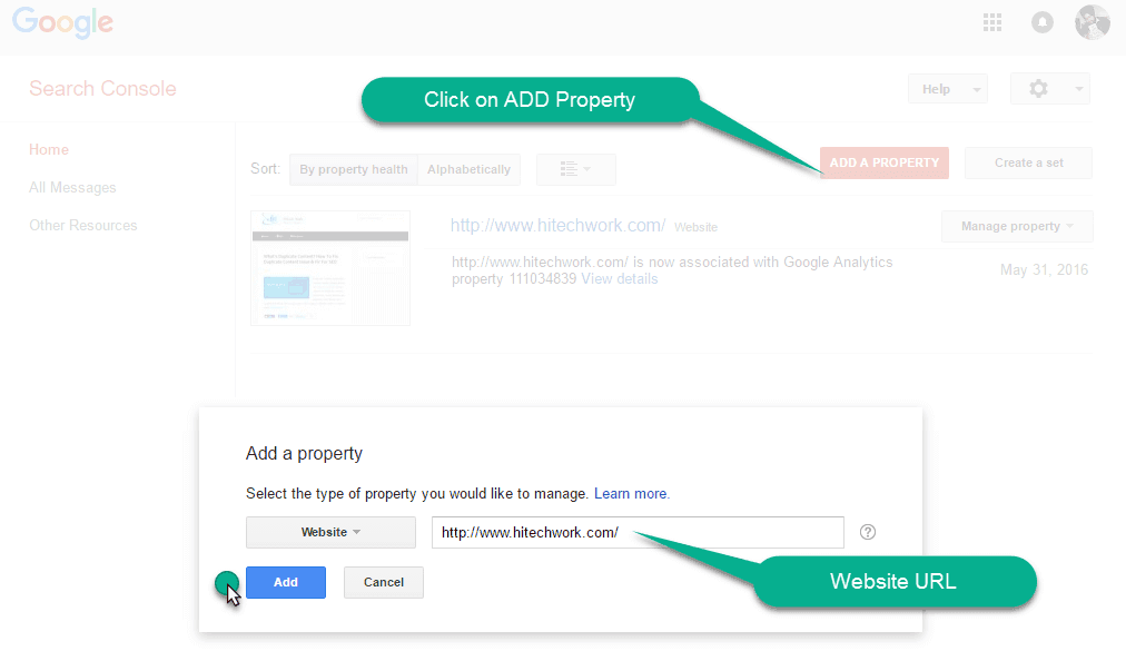 ADD property in webmaster tool