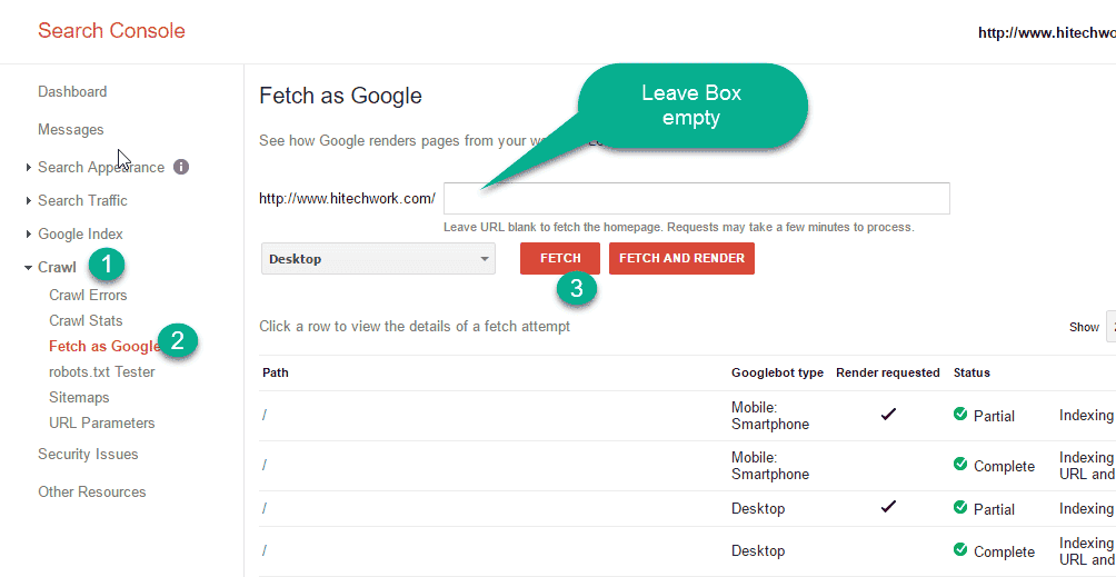 Fetch as Google in webmaster