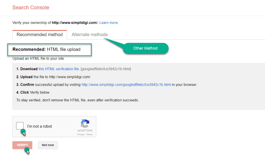 list of method to verify site with Google
